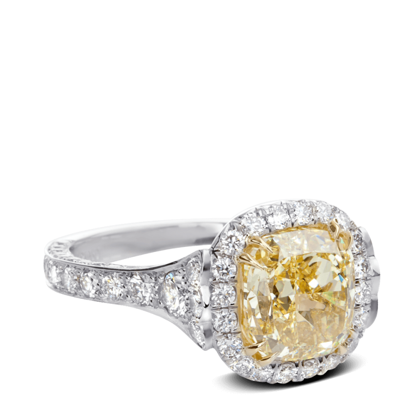 ring-Fleurdelis-cushion-diamond-halo-pave-platinum-gold-steven-kirsch-1.png